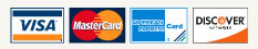 Credit Cards accepted - VISA, Discover, MaterCard, American Express